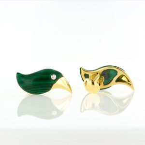 Malachite and 18K Yellow Gold Toucan Cuff Links.