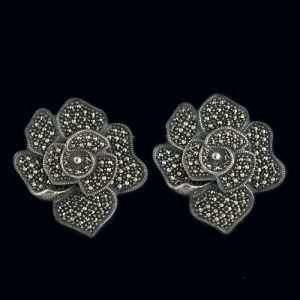 These Vintage Sterling Silver Rose Design Earrings are Embellished with Marcasites.