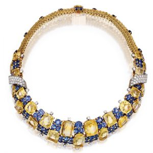 Marchak Gold and Diamond Woven Motif Crossover Necklace with Diamond Terminals.
