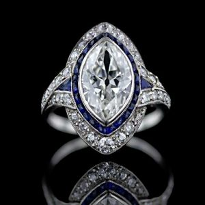 Art Deco Ring with a Marquise Cut Diamond: Note the Open Culet.