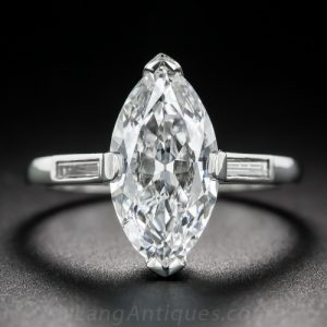 Modern Ring with a Marquise Cut Diamond: Note the Now Closed Culet.