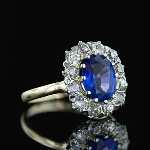 The Modern Centerpiece of this Late Victorian Ring is a Vibrant Purplish Blue Tanzanite - a Gemstone not Discovered Until Nearly Seventy Years After the Mounting was Made.