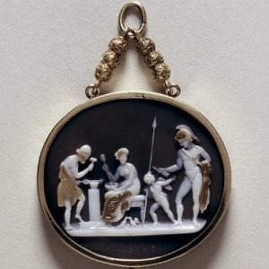 "Hardstone Cameo Depicting ""Vulcan's Forge"" with Mars, Venus, Cupid and Vulcan. c.1830."