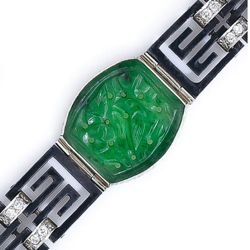 Marsh & Co Art Deco Blackened Steel Jadeite and Diamond Bracelet.