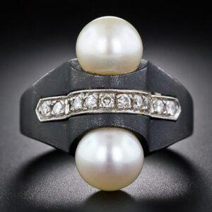 Marsh & Co Art Deco Blackened Steel Pearl and Diamond Ring c. 1930.