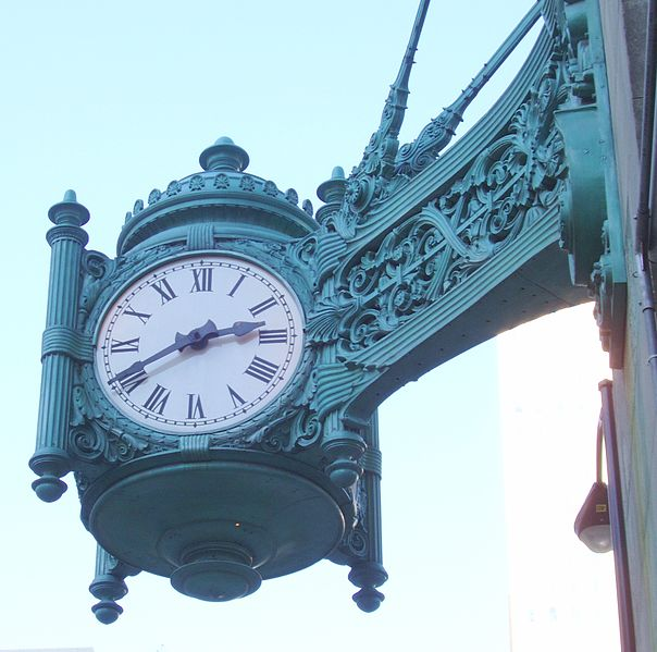 The Clock at Marshall Field and Company, Chicago (Taken at the Corner of Randolph and State Street). Photographer: David K. Staub
