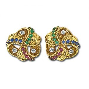 Mauboussin Multi-Stone Gold Clip Earrings.