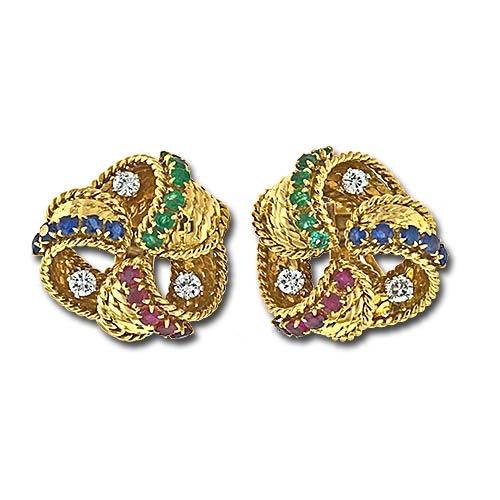 Mauboussin Multi-Stone Gold Clip Earrings.