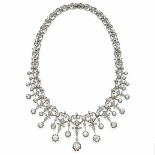 Mauboussin Antique Diamond Fringe Necklace, Convertible to Bracelet, Tiara, Brooch and Haircomb, c.1902. Photo Courtesy of Christie's.