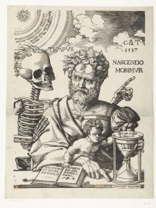 "Drawing: Cornelis Anthonisz, 1537. Nascendo Morimur ""As We are Born, We Die."""