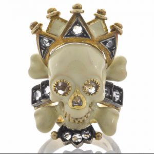 Diamond and Enamel Skull with Crown Memento Mori Ring, Attilio Codognato. Photo Courtesy of Bonhams.