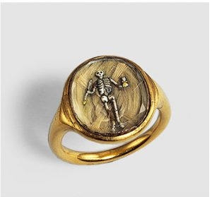 Memento Mori Ring, 17th Century. Skeleton Holding an Hourglass Surmounted on Braided Hair.