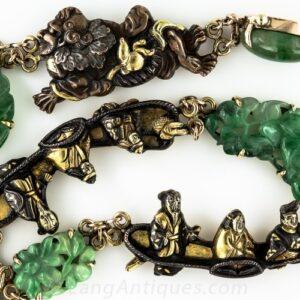 Japanese Shakudo Jadeite Necklace with Menuki Elements.