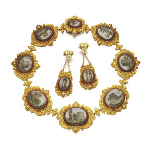 Micromosaic and Gold Demi-Parure, c.1820s. Photo Courtesy of Sotheby's.