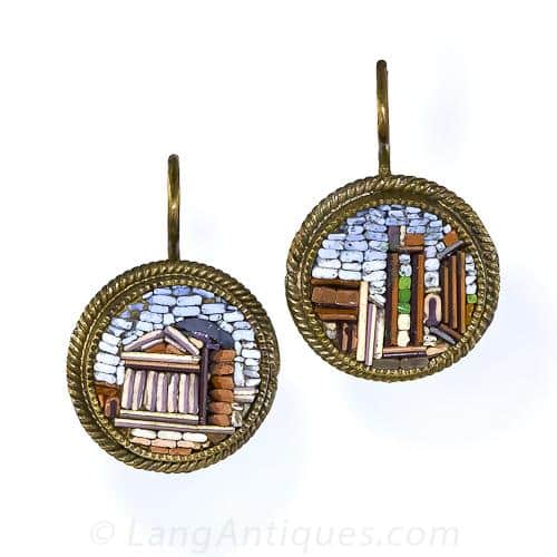 Victorian Earrings with Roman Ruins Depicted in Micromosaic Multi-Colored Tesserae.