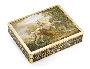 A Snuff Box with Micromosaic Attributed to Filipo Puglieschi, Rome, (panels c.1810) Photo Courtesy of Sotheby's.