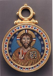 Pendant Set with a Micromosaic Depiction of Christ, Castellani, Private Collection. Photo Courtesy of The Victorian Web.