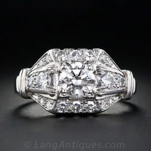 Mid-Century Architectural Motif Diamond Engagement Ring.