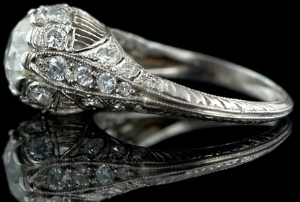 Platinum and Diamond Ring with Millegrained Edges.