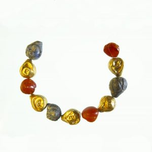 "Minoan Lapis Lazuli, Carnelian and Gold ""Breast"" Bead Necklace c.1700-1500 BC."