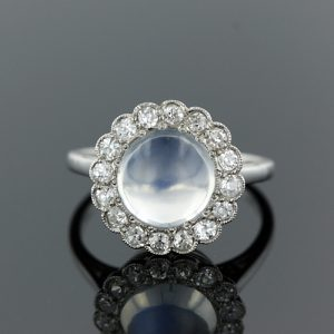 This Art Deco Moonstone Ring is an Excellent Example of a Stone with Vitreous Luster.