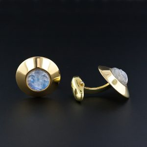 "Carved Moonstone, 18K Yellow Gold ""Man-in-the-Moon"" Cuff Links."