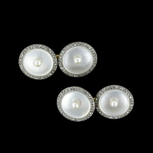 Art Deco Mother-of-Pearl and Pearl Cuff Links.