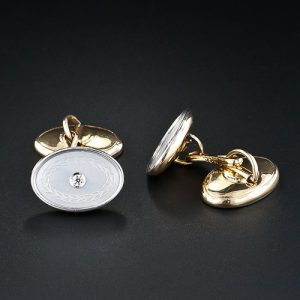 Lambert Bros. Diamond and Mother-of-Pearl Cuff Links c.1920s.