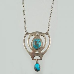 Murlle, Bennet & Co. Turquoise and Silver Pendant, c.1900. (Pforzheim).
