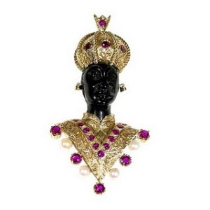 Nardi Blackaboor Brooch with Jeweled Headdress and Collar.