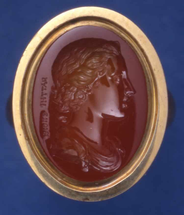 Laureate Head of a Youth, Intaglio, c.1726-1775, Sard. © Trustees of the British Museum.