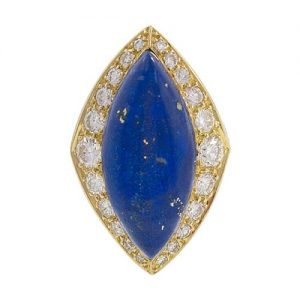 Navette Shaped Lapis Lazuli Cabochon with a Diamond Surround. Photo Courtesy of Frances Klein Classic Jewels.