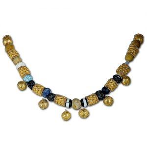 Necklace. Gold and Glass Paste, Roman Artwork, 6th–5th Centuries BC. From a Sarcophagus in Fidene, Italy. ©