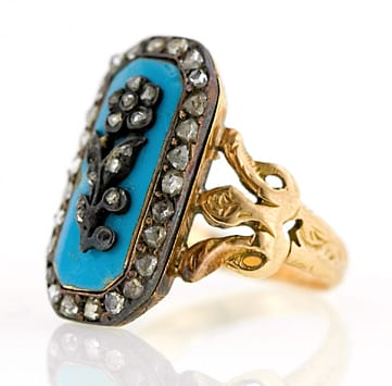 Typical Turquoise Enamel and Diamond Neoclassical Ring. Note the Use of Both Yellow Gold and Silver as Well as the Shank Spreading Out into 3 Towards the Head.
