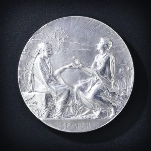 Silver Wedding Medallion, O. Roty 1895.