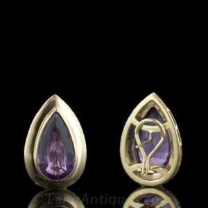 Omega Back Finding on Amethyst Earrings.
