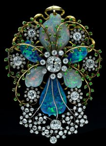 Stunning Art Nouveau Opal, Diamond and Demantoid Garnet Brooch.