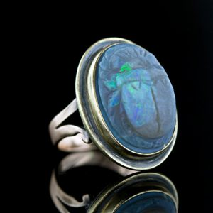 Carved Opal Scarab Ring.