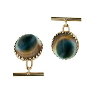 Vintage Cat's-Eye Operculum Cuff Links.