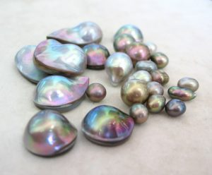 "Sea of Cortez Pearls, Mabes and Keshi from the ""Rainbow Lipped Pearl Oyster"" Pteria Sterna Exhibiting Orient. Photo Courtesy of The Sea of Cortez Pearl Blog."