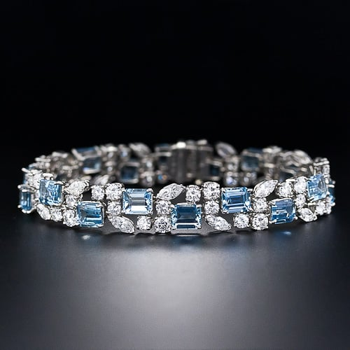 Oscar Heyman Bros. Aquamarine and Diamond Bracelet.