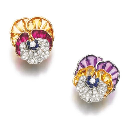 Multi-Gem Pansy Ear Clips. Image Courtesy of Sotheby's.