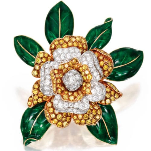 Oscar Heyman & Bros. Gardenia Brooch. Photo Courtesy of Sotheby's.