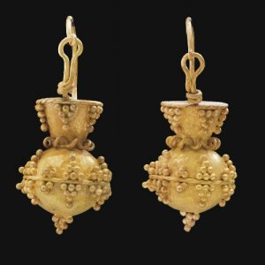 Ostrogoth Granulated Pyramid and Ball Gold Earrings. 6th Century A.D., Italy.