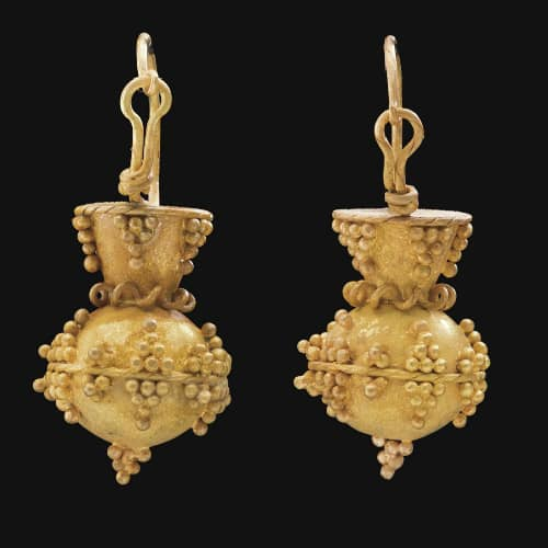 68ffe60ee Ostrogoth Granulated Pyramid and Ball Gold Earrings. 6th Century A.D.,  Italy. Photo Courtesy of Christie's.