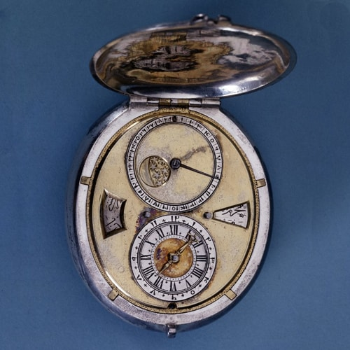 Oval Silver Cased Verge Watch with Date Indicator..jpg