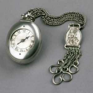 Oval Silver Cased Verge Watch with Fob Chain. 1610-1620. © The Trustees of the British Museum.