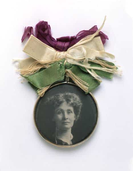 Emmeline Pankhurst Portrait Suspended from WSPU Themed Purple, White and Violet Ribbons.
