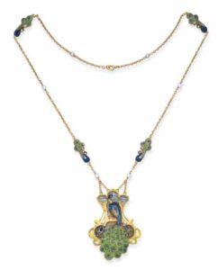 Art Nouveau Enamel Peacock Necklace.