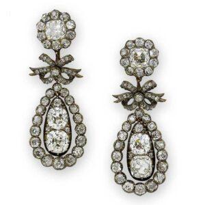 Pendeloque Diamond Earrings with Bow Motif. c.1810.